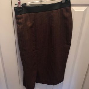 Burgundy leather top pencil skirt